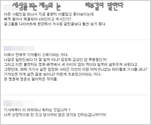 네티즌의 댓글 악플
